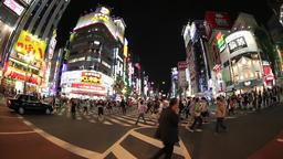 Fish-eye view of Kabukicho district in Shinjuku, Tokyo, Japan Footage