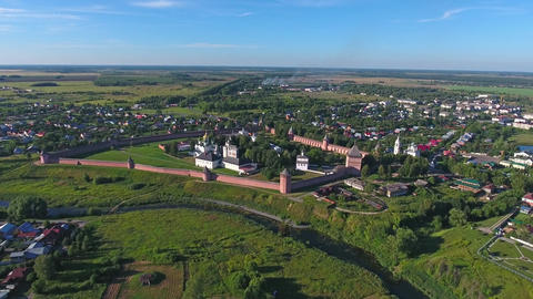 Aerial view on Monastery in Suzdal, Russia Footage