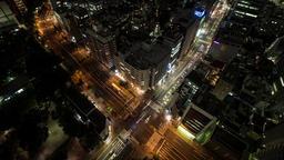 Time Lapse Night View Of Traffic At Tomisakaue Crossing, Tokyo, Japan Footage