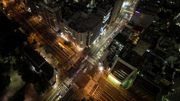 Time Lapse Left To Right Night View Of Traffic At Tomisakaue Crossing, Tokyo, Ja Footage
