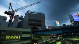 Time lapse footage of the evening sky over Shibuya station, Tokyo, Japan ภาพวิดีโอ