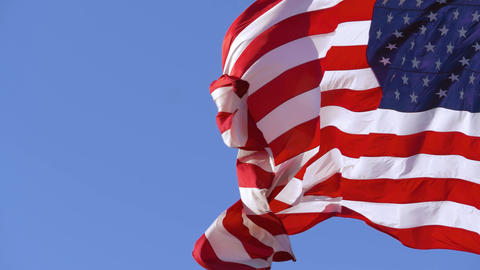 American flag closeup with copy space, slow motion Live Action