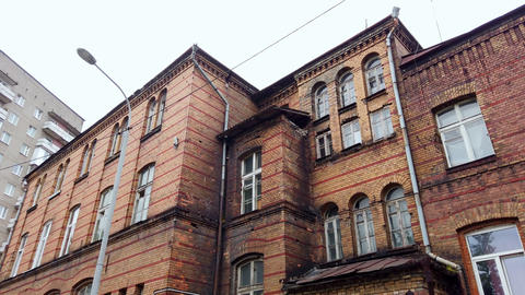 Old historic residential building in Kaliningrad, Russia Live Action