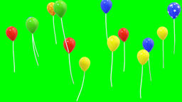 Colourful decorative balloons with green screen background CG動画