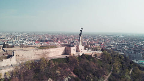 Panoramic view of Budapest cityscape in spring season, Hungary. Slow motion Live Action