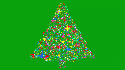 Christmas tree motion graphics with green screen background CG動画