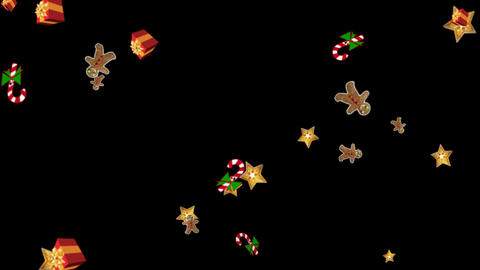 Falling gifts and stars motion graphics with night background CG動画