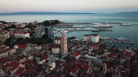 Aerial View of Split Croatia. Historic Coastal City and Seaport on Adriatic Sea Live Action