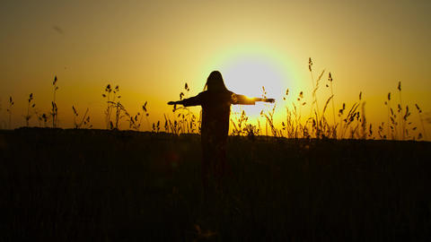 Carefree woman whirling on meadow in evening glow Live Action