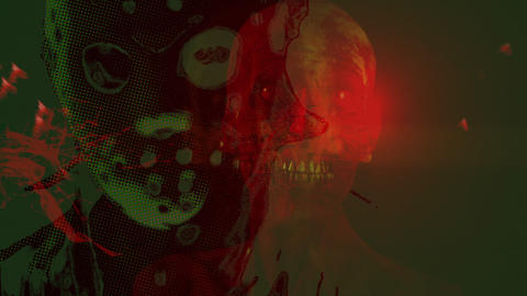 Animation in hologram style - Horror Zombie with Effects, mixed media of two CG Animation