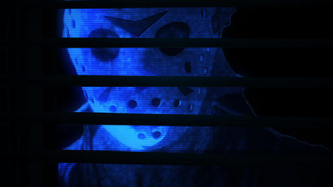 Animation in hologram style - Horror Zombie behind of window shutter , mixed media of two CG Animation