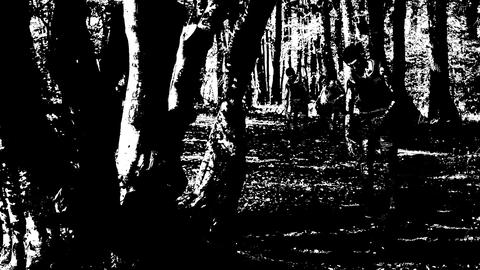 Animation of walking zombie in the wood in cartoon style black & white Animation
