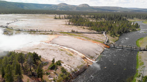 Aerial scenery at Midway Geyser Basin in Yellowstone National Park Live Action