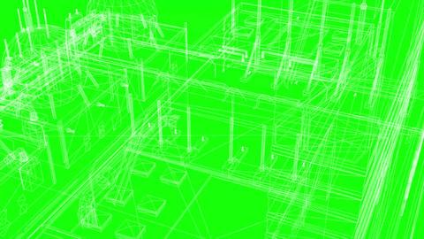 3D Rendering - Wireframe Model Of Industrial Buildings Animation