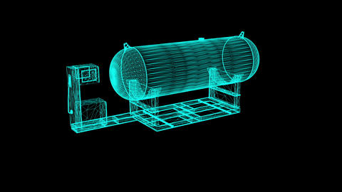 Animation of Petrol Station in wire frame on black background Animation