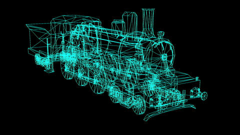 3D Rendering - Wire Frame Model Of Train Hologram In Motion Animation