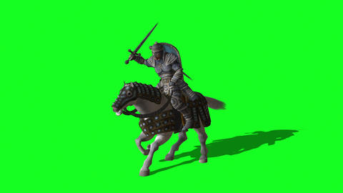 Medieval Knight Ride Horse and make fight With Swords And Shield - animation on green screen Animation