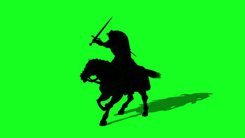 Silhouette of Medieval Knight Ride Horse and make fight With Swords And Shield - animation on green Animation