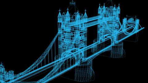 3D Animation of wire frame Bridge on black background Animation