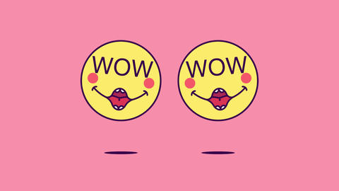 2 jumping emoji faces with phrase Wow. Enthusiastic emoticon with text Wow Animation