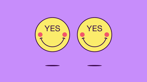 2 jumping emoji faces with rotation and phrase Yes. Positive emoticon with text Yes Animation