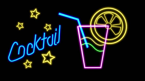 Neon Sign Cocktail Animation