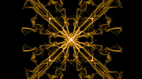 Sguare ornament, live fractal patterns with light particles, mandala for energy Animation