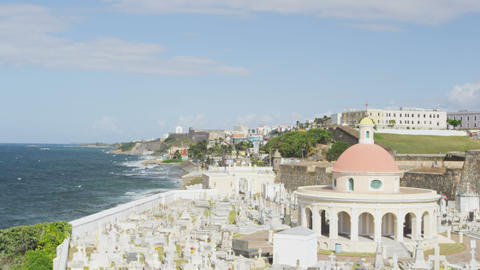 Puerto Rico San Juan Cemetery by tourist destination Landmark El Morro Live Action