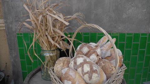 Bread in the basket. Street still life Live Action