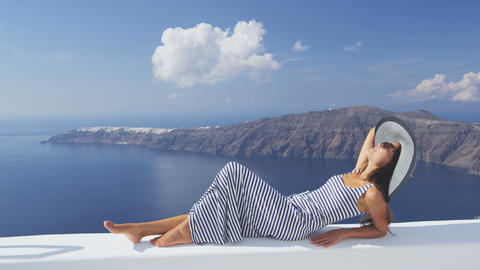 Europe Greece Santorini travel vacation - woman Live Action