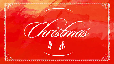 elegant merry christmas gifts sale with white thin calligraphy red background painted with paint Animation