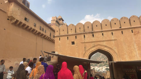 Jaipur, India, November 05, 2019, Amer Fort, tourists discuss the historic Live Action