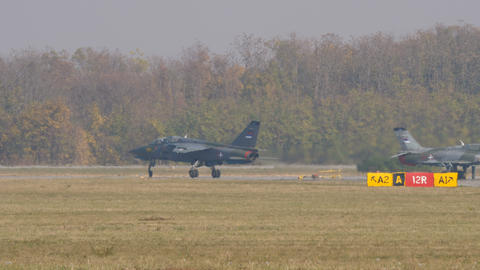 Serbian Air Force Soko J 22 Orao Bomber Military Aircraft with Green Camouflage Live Action