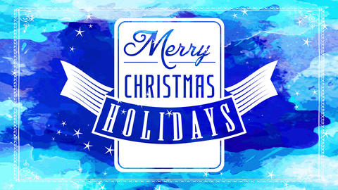 seasonal vacation merry xmas greeting cardboard with white squared seal with flying award over blue Animation