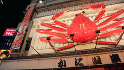 Osaka, JP - January 24, 2015: A big crab sign moving outside a restaurant in Dot Footage