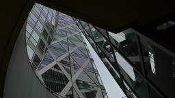 Low angle view of office building in Shinjuku, Tokyo, Japan Footage