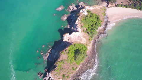 Flying over the lighthouse on Koh Lanta, Thailand Footage