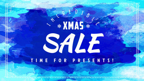 incredible xmas sale discount event poster with various shades of blue background splashed on Animation