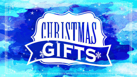 christmas gifts white seal with wild west style over darkness blue watercolour background for Animation