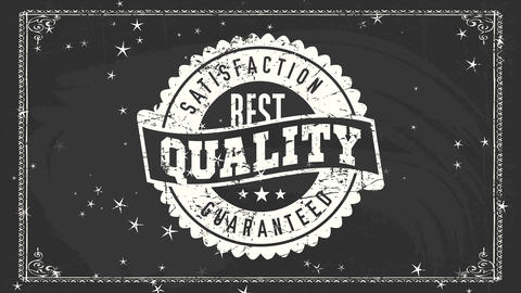 excellent value satisfaction firm sign with white filth chalk rounded symbol over chalkboard for Animation