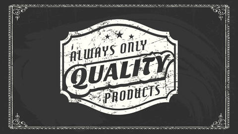 always only quality products retro announcement with three stars emblem painted with white chalk on Animation