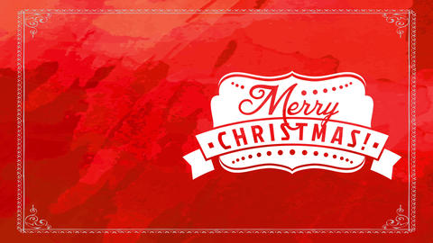 white ornamented insignia with antique merry christmas with large medal over shiny red hand Animation