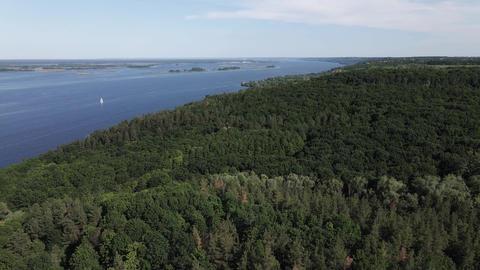 Dnipro River. Aerial view. Landmark of Ukraine Live Action