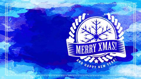 merry xmas cheering reception postcard with white ellipse badge with conceptual snowflake design on Animation
