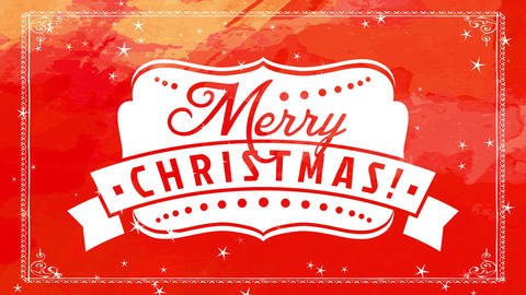 white ornate emblem with antique merry christmas with large ribbon over bright red hand Animation