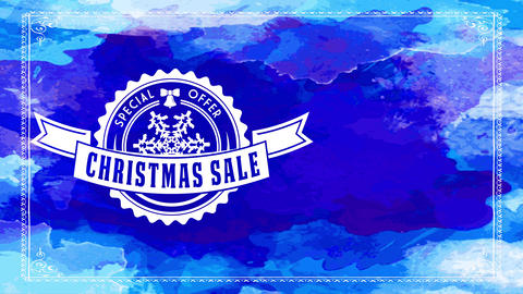 xmas selling special proposal ad with mini fine spheric symbol with crystal detailed over blue Animation