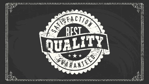 best quality satisfaction guaranteed sign with white grunge chalk rounded icon over blackboard for Animation