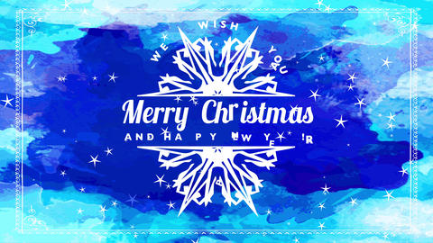 blue watercolor merry christmas and happy new year souvenir card with white sliced pointed crystal Animation