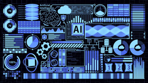 Futuristic detailed AI HUD including Digital Brain, Cloud computing, Database, Coding, and many Animation