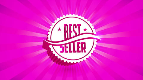 best seller discount event ad with brilliant pink sunburst behind 3d wavy rounded icon with stars Animation